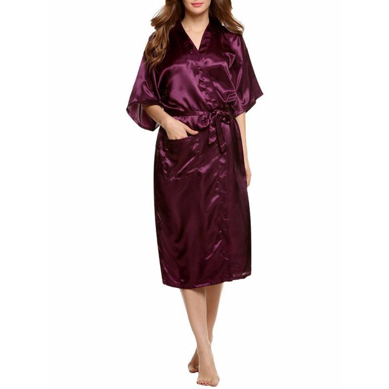 Summer Embroidered Imitation Silk Bathrobes  Pure Cardigan Nightwear