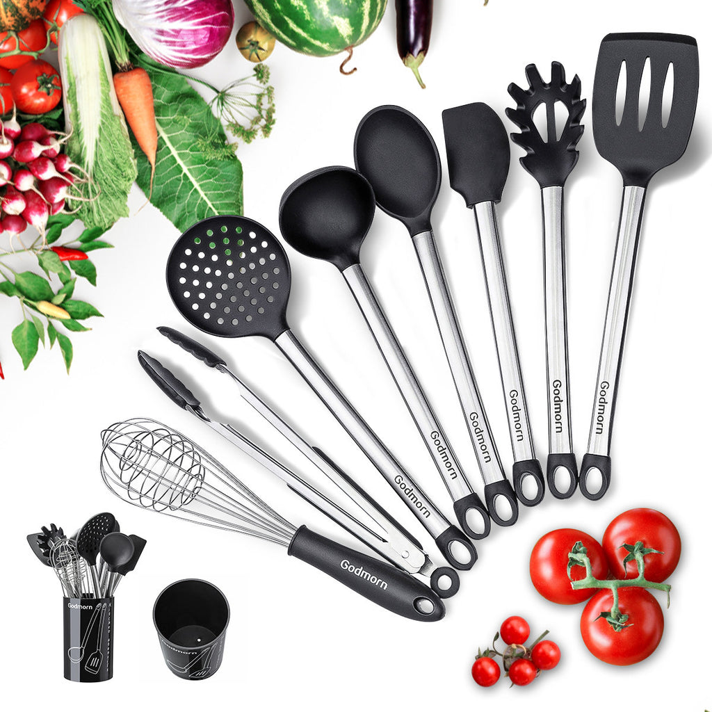 9Pcs/Set Silicone Spatula Heat-resistant Soup Spoon Non-stick Special Cooking Shovel Kitchen Tools