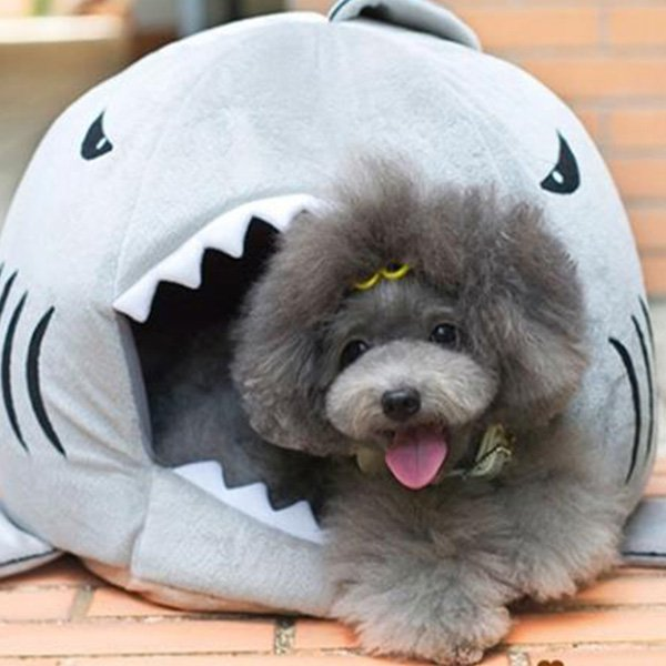 Puppy Pet Cat Dog Shark Mouth House Warm Sleeping Bag Soft Bed Kennel Cushion