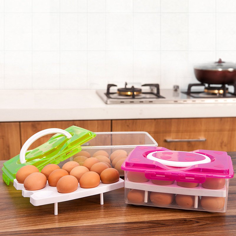 Portable Double-layer 24 Grid Egg Storage Box Refrigerator Storage Fresh Keep Egg Box