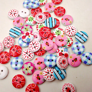 "100Pcs 5/8"" Round Wooden Buttons 2 Holes Mixed Sewing Fasteners DIY Craft"