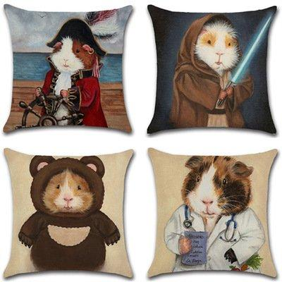Cosplay Guinea Pig Print Cushion Pillow Case  Car Home Sofa Bed Decor