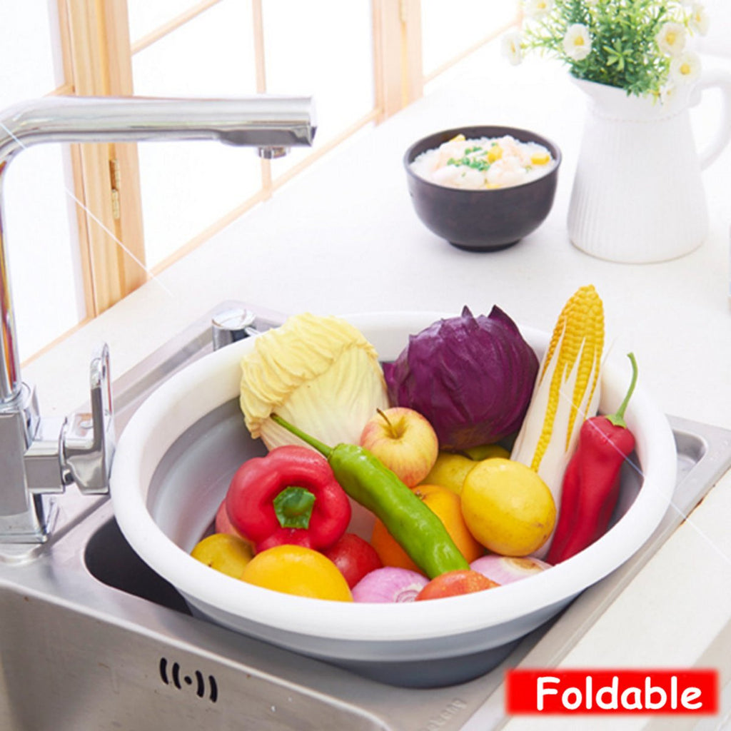Kitchen Collapsible Foldable Silicone Colander Fruit Vegetable Food Basket