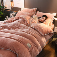Double-sided Flannel Coral Fleece Bedding Sets 4Pcs Quilt Duvet Cover