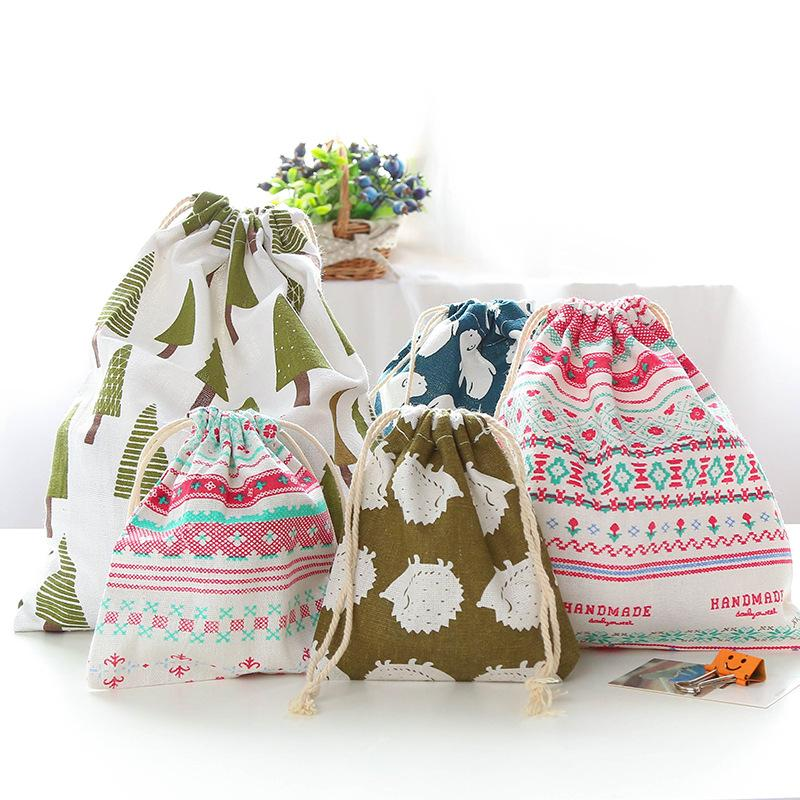 Linen Storage Bundle Bags Drawstring Clothing Packing Cartoon Cute Outdoor Travel