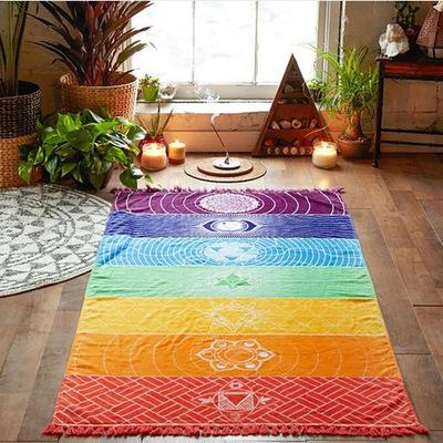 Creative Rainbow Boho Beach Mat Mandala Blanket Striped Wall Hanging Tapestry Scarf Yoga Mat