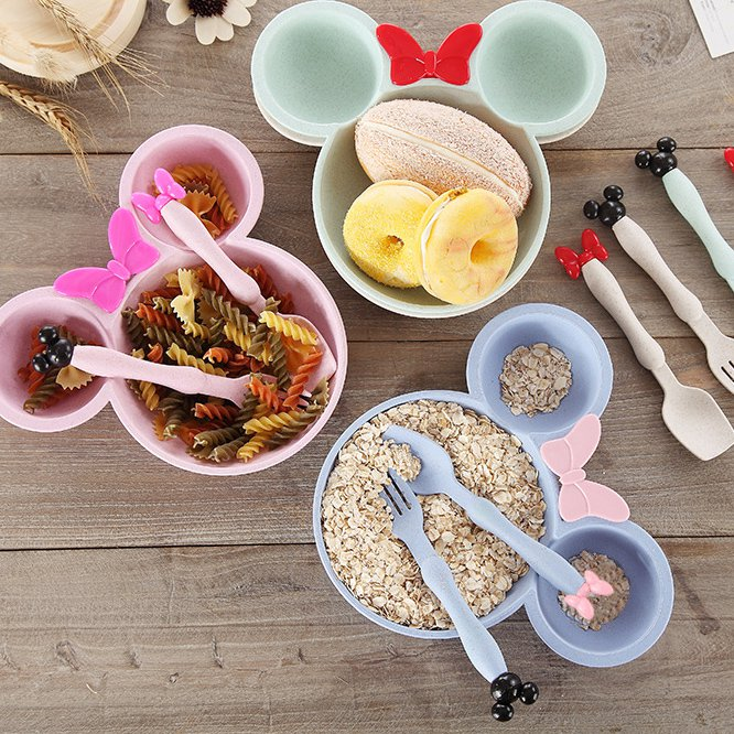 Wheat Straw Mickey Minnie Children Bowl Spoon Fork Set of Kindergarten Cutlery Set Gift