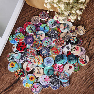 100 Pcs Round Wooden Decoration Sewing Buttons DIY Materials