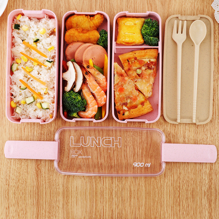 900ml Healthy Material 3 Layer Lunch Box Wheat Straw Microwave Dinnerware Food Storage Container Lunchbox