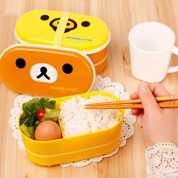 Microwaveable Plastic Lunch Bento Box Food Snack Meal Container Storage Case + Chopstick