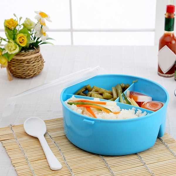 Portable Round Microwave Lunch Box Bento Picnic Food Container Storage