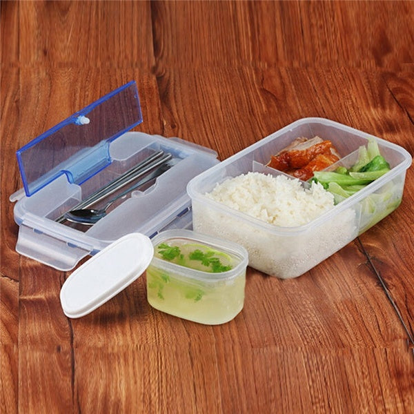 Microwave Lunch Box with Soup Bowl Chopsticks Spoon Food Box