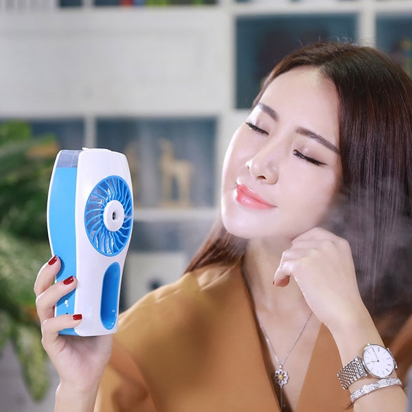 Handheld Rechargeable Humidifier Spray Cooling Mini Fan Air Misty Electric Fan