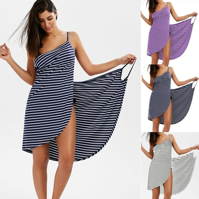 Women Fashion Sleeveless Stripes Print Cotton Casual Beach Wear Wrap Cover Up Dress Plus Size