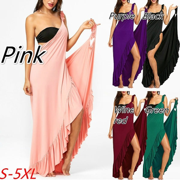 Women's Ladies Fashion Plus Size Flounce Wrap Beach Dress Pure Color Sexy Irregular Sleeveless Cover Up Dress