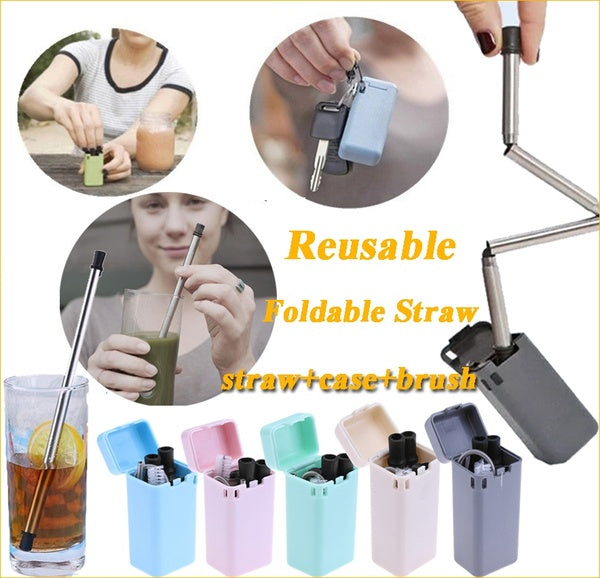 New Portable Rust Proof Reusable Stainless Steel Folding  with Cleaning Brush for Home Bar Party