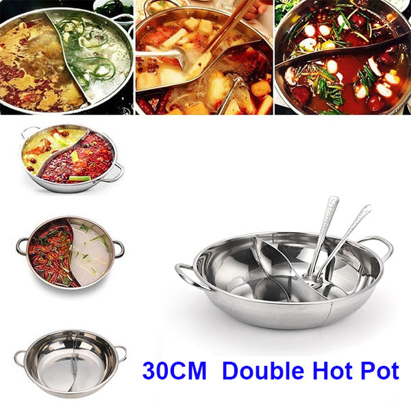 Multifunctional Stainless Steel Double Hot Pot Cookware Non-stick Cooking Pots