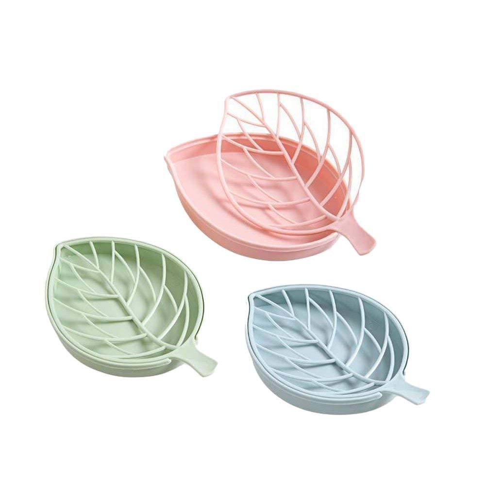 3 PCS Double Layers Soap Box Leaf Shape Soap Holder