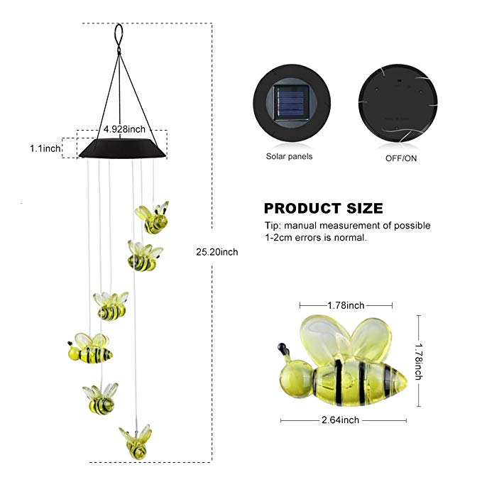 Color-Changing Outdoor Waterproof Led Solar Powered Wind Chimes for Home/Party/Yard/Garden Decoration