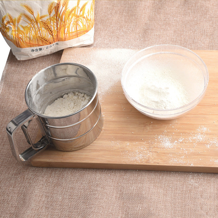 Stainless Mesh Flour Sifter Mechanical Baking Icing Sugar Shaker Sieve Tool