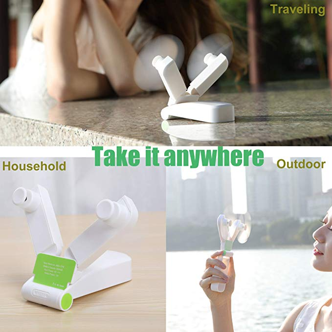 Portable Fan Pocket Foldable Size for Home Office Hiking Travelling USB Rechargeable