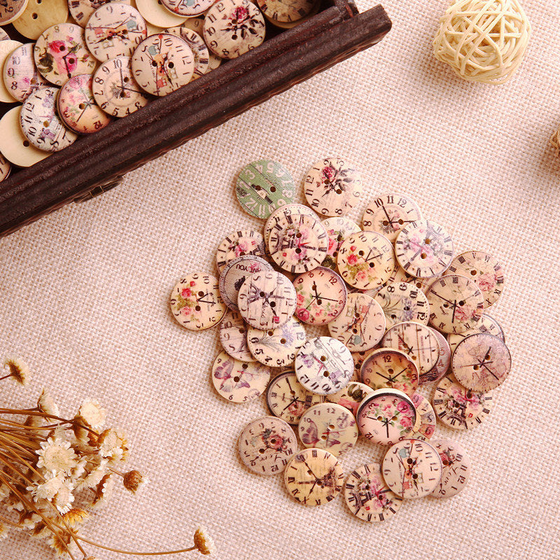50Pcs Vintage Clock Wooden Buttons Round Sewing DIY Craft Buttons for Bag Hat Clothes Decoration