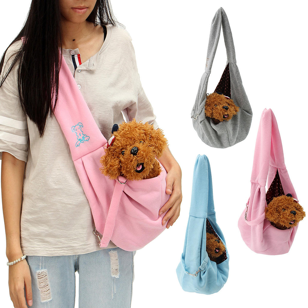 Reversible Small Dog Cat Sling Carrier Bag Travel Double Sided Pouch Shoulder Carry Handbag