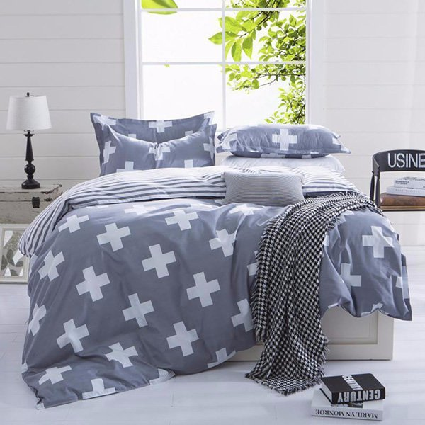 4Pcs Western Style Reactive Printing Bedding Sets Quilt Duvet Cover