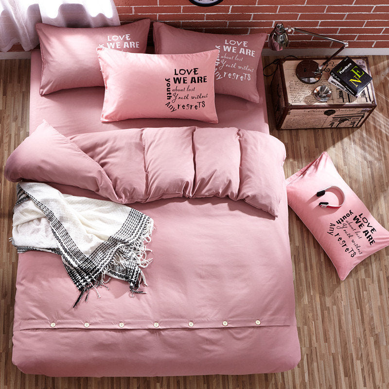 4Pcs Washed Cotton Bedding Set Full Queen King Size Duvet Quilt Cover Flat Sheet Pillowcases