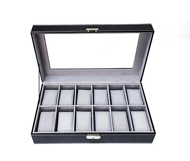 12 Slots Wooden Watch Display Box Organizer Lockable Jewelry Display Storage Case