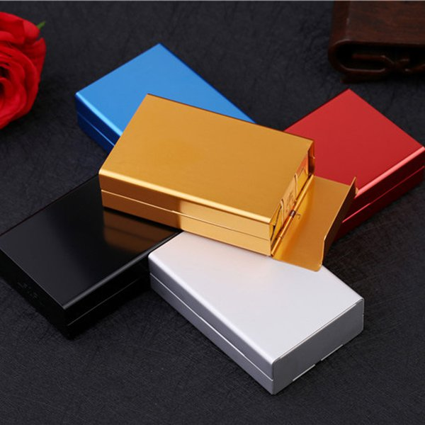 5 Colors Automatic Aluminum Cigarette Case Tobacco Holder Container Smoking Accessories