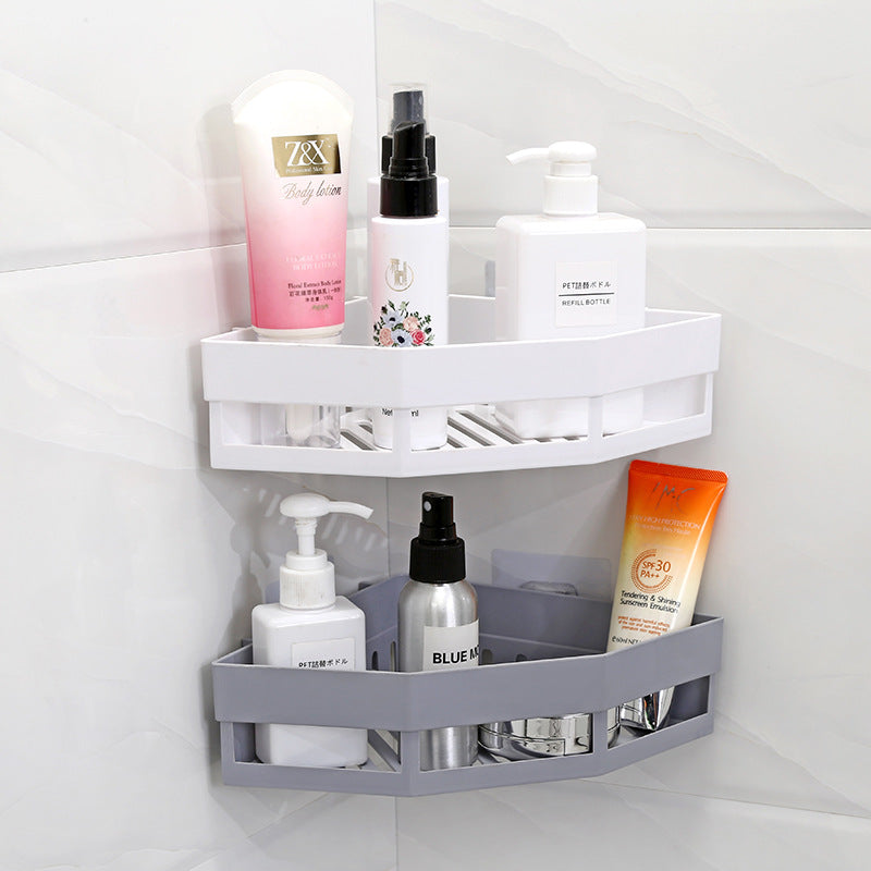 Plastic Suction Cup Bathroom Kitchen Corner Storage Rack Organizer Shower Shelf