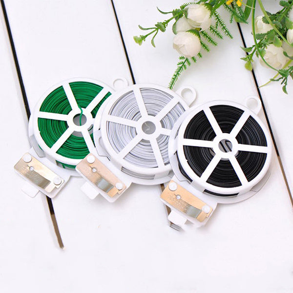 50M Garden Plant Wire Twist Tie Dispenser with Cutter Cable Tie Coated Wire