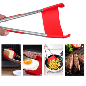 BBQ 2-In-1 Collapsible Kitchen Spatula And BBQ Tong Non-Stick Stainless Steel Frame - 9 Inch Red