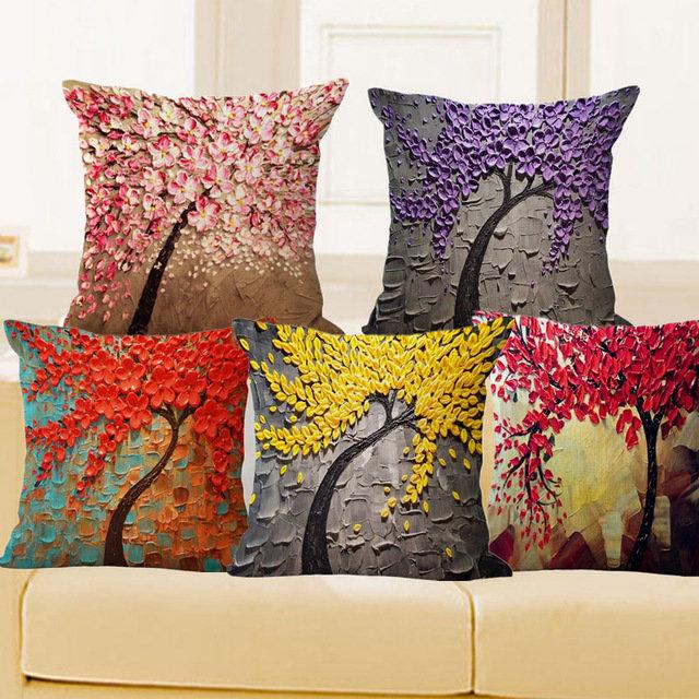 3D Pillow Case Vintage Flower Cotton Linen  Cushion Cover
