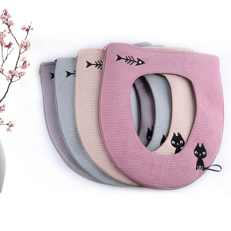 Winter Toilet Seat Cover Warmer Fleece Thick Soft Comfortable Potty Seats Case Bathroom Accessory
