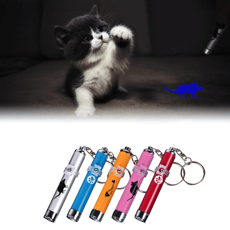 Pet Laser Pointer Cat Toys Cartoons Laser Pen LED Light Pet Cat Toys Pen with Bright Animation Mouse