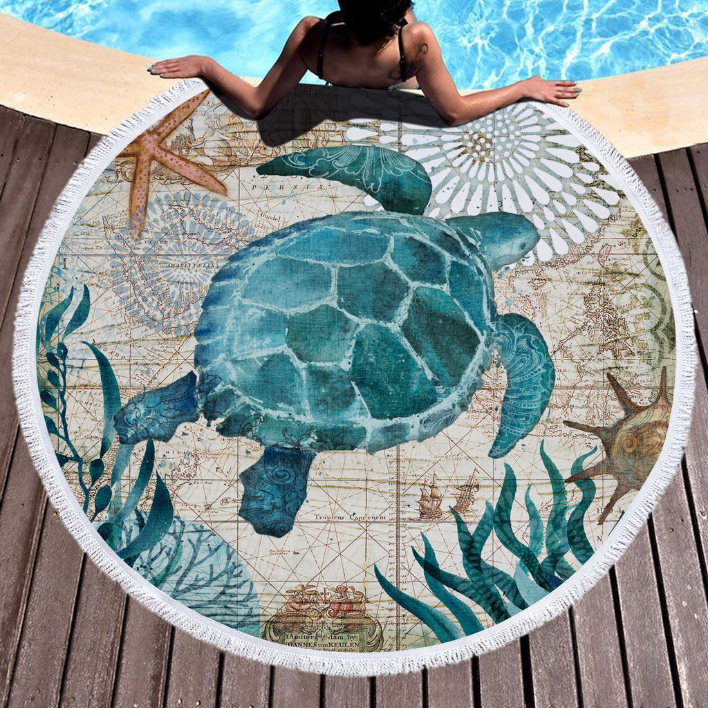 Sea Turtle Microfiber Beach Towel Adult Kids Yoga Mat Tassels Blanket Large Round Towel