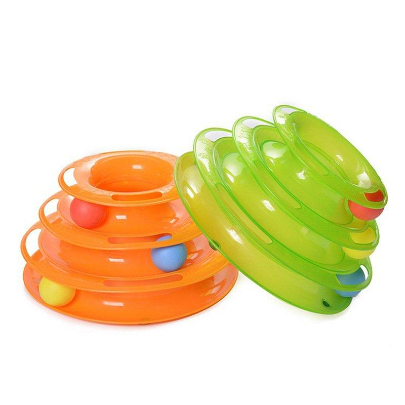 Pet Interactive Three-layer Cat Turntable Toy Round Puzzle Play Track Funny Cat Dish