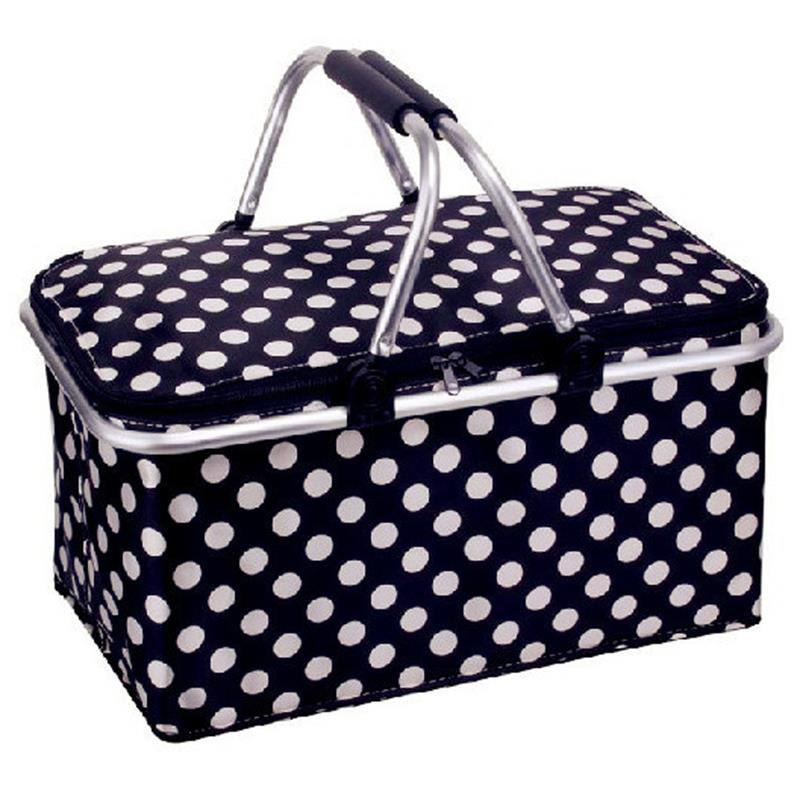 Black White Dots Oxford Cloth Insulation Shopping Basket Picnic Bag Foldable