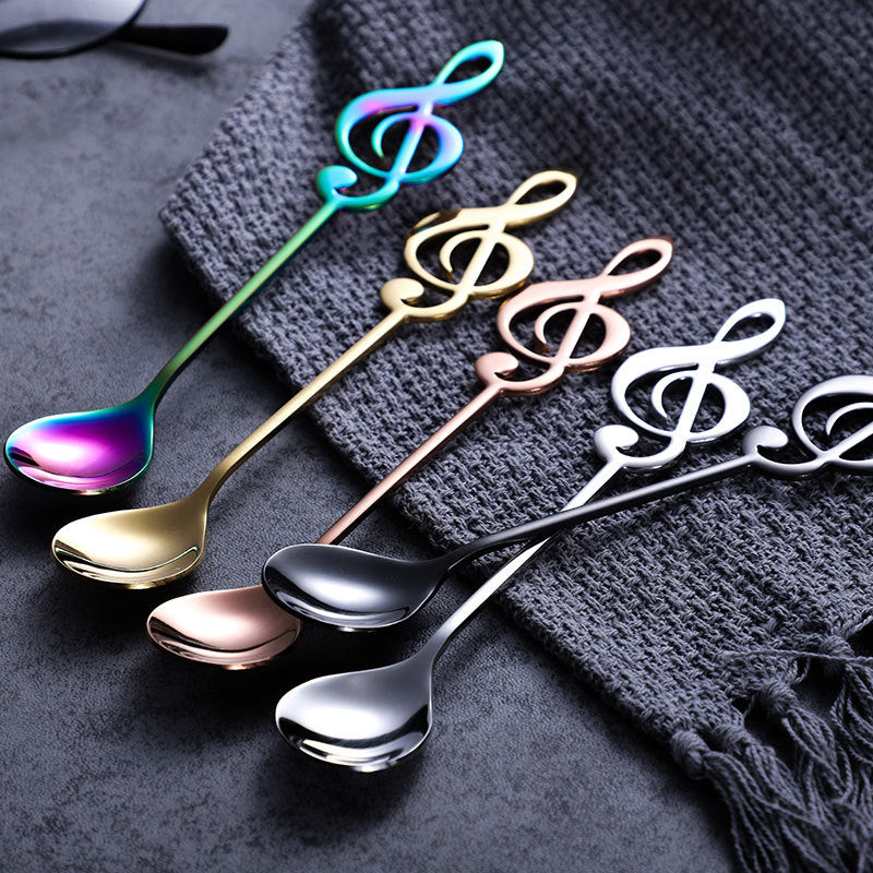 3 PCS Stainless Steel Musical Note Dessert Spoon Coffee Tea Coffee Spoon Tableware