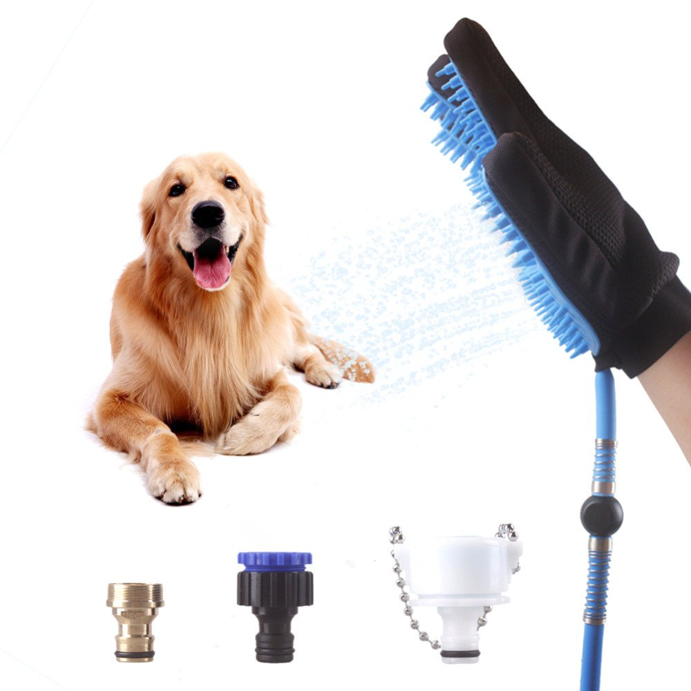 2 in 1 Pet Bathing Tool Dog Shower Sprayer Scrubber Grooming Massage Glove
