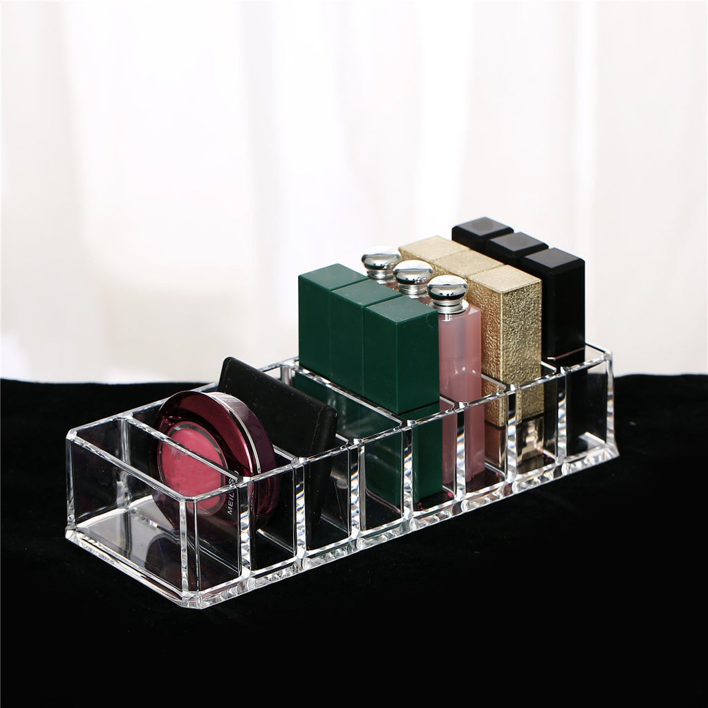 8 Slots Clear Acrylic Compact Holder Powder Blush Lattice Organizer Cosmetic box