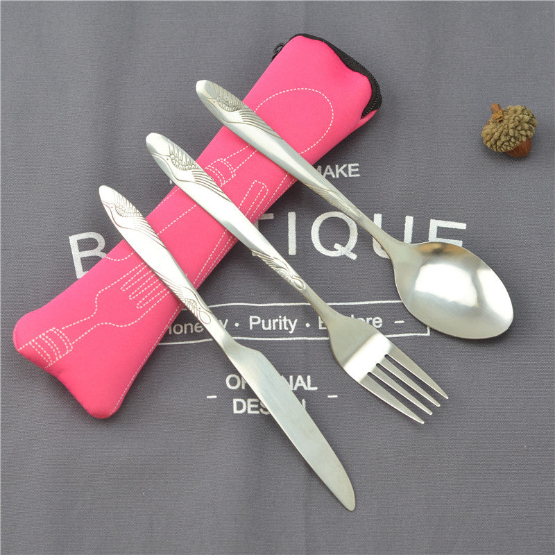 Portable Travel Cutlery 3Pcs Stainless Steel Tableware Dinnerware Camping Cutlery Set Fork Spoon Knife Set