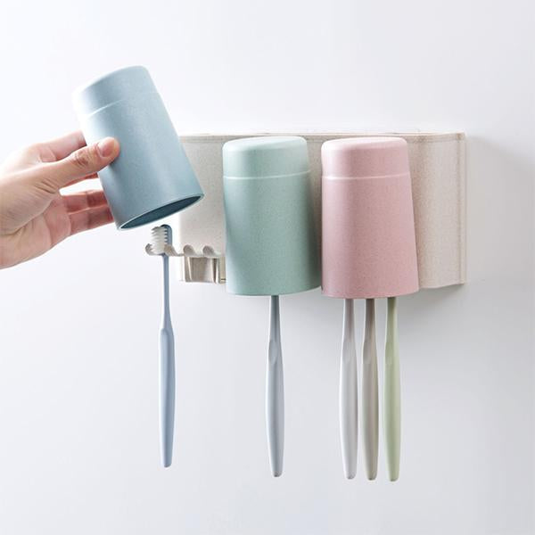 Punch-free Wall-mounted Creative Toothbrush Holder Cup Set