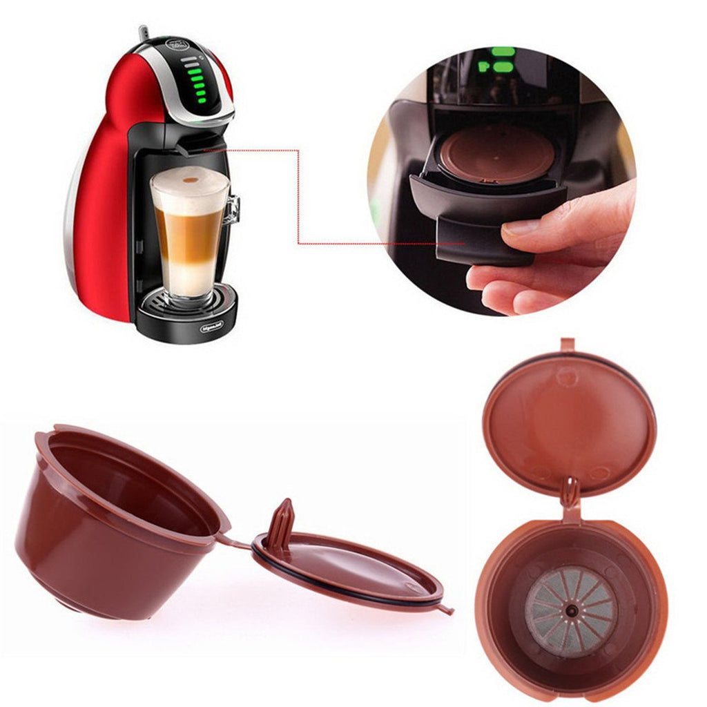 4Pcs Dolce Gusto Refillable Coffee Capsules Reusable Brewers Refill Cup Filter with Spoon&Brush