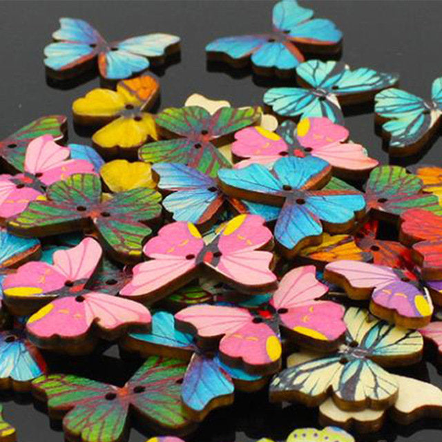 100pcs 2 Holes Colorful Butterfly Wooden Buttons Fit Sewing and Scrapbooking 28mm Sewing Buttons