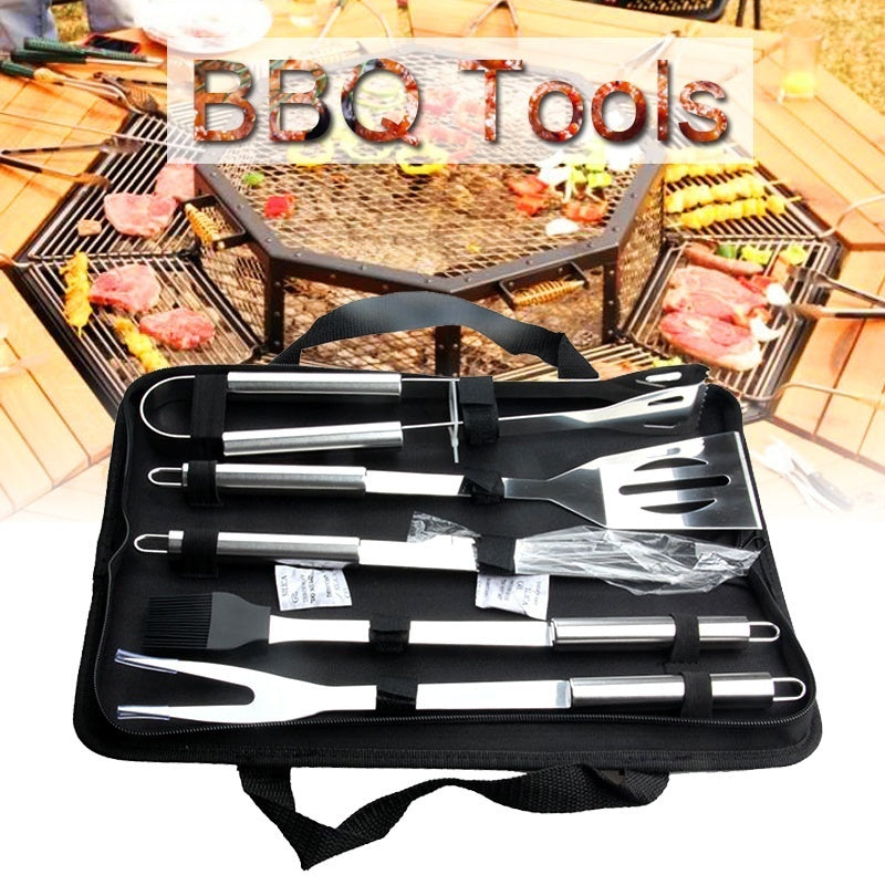 5Pcs/Set Stainless Steel BBQ Utensil Grill Set Tools Kit with Carry Bag