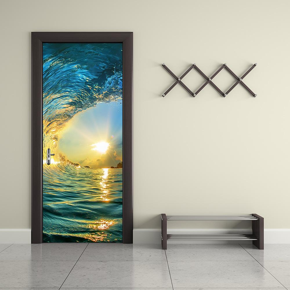 Wall Door Sticker Self Adhesive Peel & Stick Wrap Mural for Home Shop Bar Decor Sea Wave 2PCS