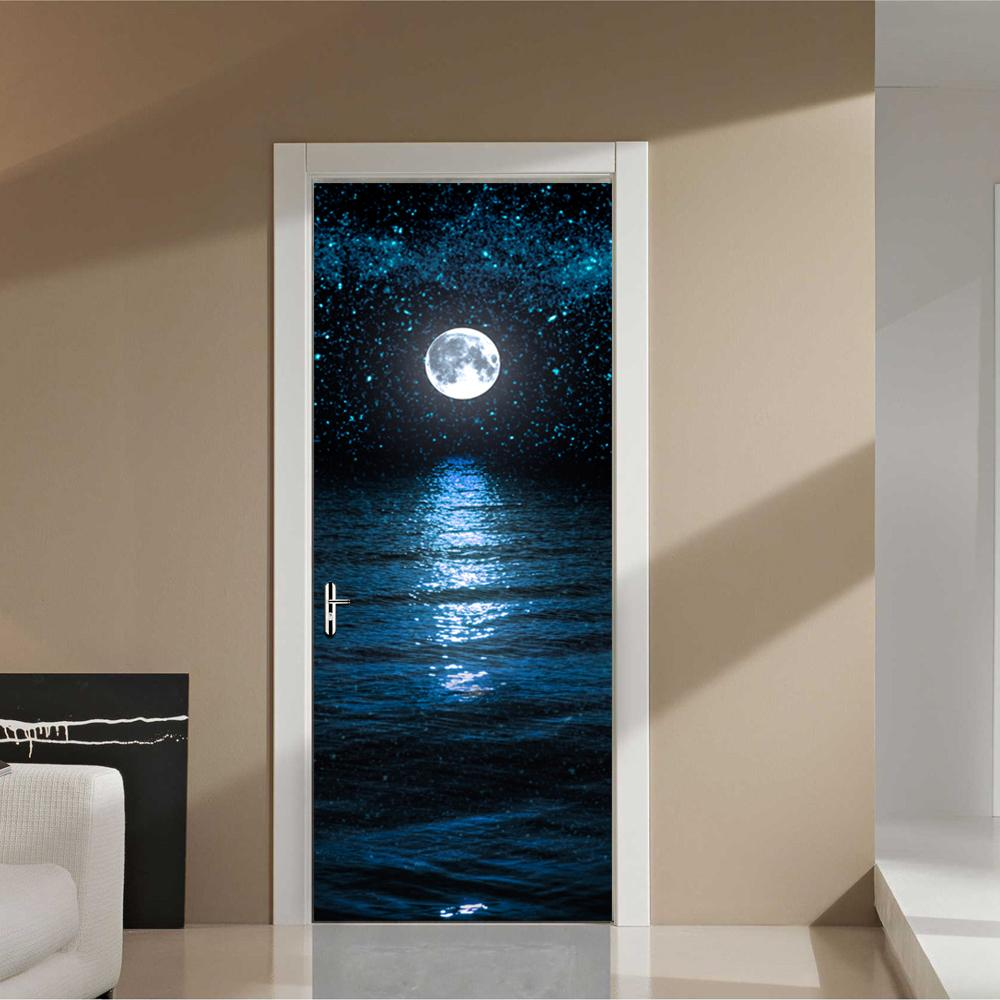 Wall Door Sticker Self Adhesive Peel & Stick Wrap Mural for Home Shop Bar Decor Night Theme 2PCS